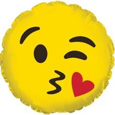 Фольгированный воздушный шар Смайл Эмоции (с поцелуем) желтый (23 см)