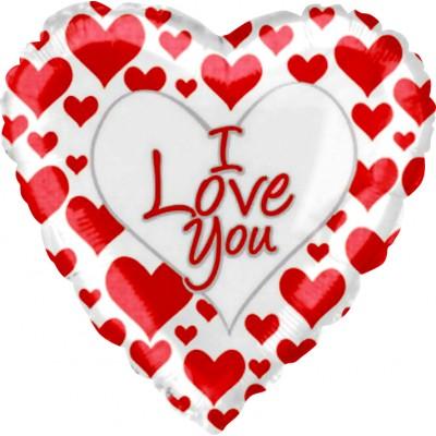 """Фольгированный воздушный шар-сердце """"Я люблю тебя"""" (простые красные сердечки) белый (46 см)"""
