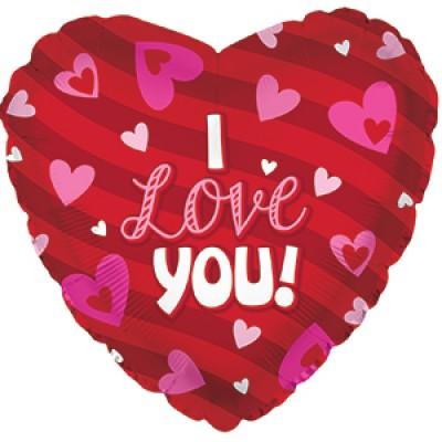 """Фольгированный воздушный шар-сердце """"Я люблю тебя"""" (сердечки) красный (46 см)"""