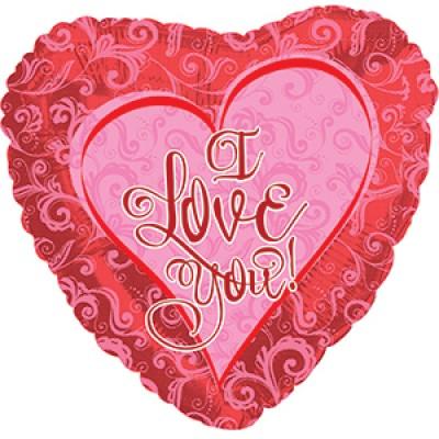 """Фольгированный воздушный шар-сердце """"Я люблю тебя"""" (кружевное) красный (46 см)"""