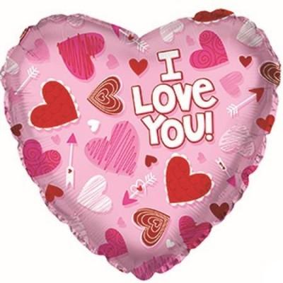 """Фольгированный воздушный шар-сердце """"Я люблю тебя"""" (сердечки) розовый (46 см)"""