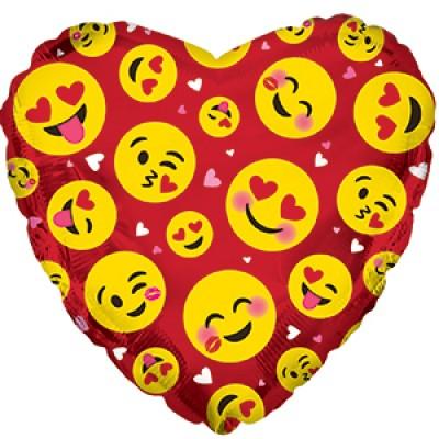 Фольгированный воздушный шар-сердце Влюбленные смайлы красный (46 см)