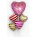 Фольгированный воздушный шар-сердце Белые полоски красный (46 см)