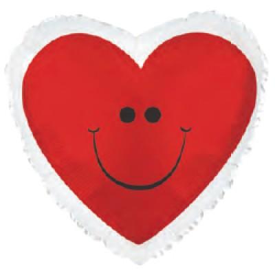 Фольгированный воздушный шар-сердце Смайл сердечко красный (46 см)