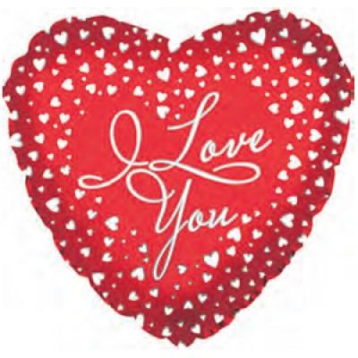 """Фольгированный воздушный шар-сердце """"Я люблю тебя"""" (водопад сердец) красный (46 см)"""