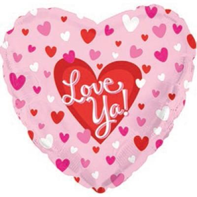"""Фольгированный воздушный шар-сердце """"Я люблю тебя"""" (маленькие сердечки) розовый (46 см)"""