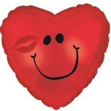 Фольгированный воздушный шар-сердце Смайл с поцелуем красный (46 см)