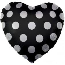 Фольгированный воздушный шар-сердце Белые точки черный (46 см)