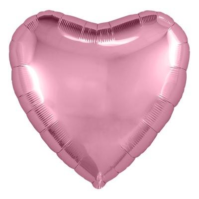 Однотонный фольгированный воздушный шар-сердце Розовый фламинго (48 см)