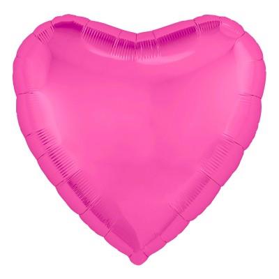 Однотонный фольгированный воздушный шар-сердце Розовый пион (48 см)