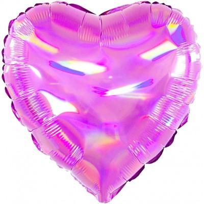 Однотонный фольгированный воздушный шар-сердце Перламутровый блеск фуше голография (46 см)
