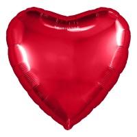 Однотонный фольгированный воздушный шар-сердце красный (48 см)