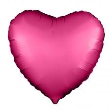Однотонный фольгированный воздушный шар Сердце гранатовый сатин (48 см)