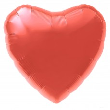 Однотонный фольгированный воздушный шар Сердце коралловый (48 см)