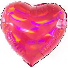 Однотонный фольгированный воздушный шар-сердце Перламутровый блеск рубин голография (46 см)
