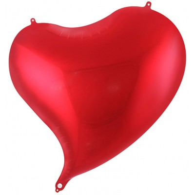 Однотонный фольгированный воздушный шар-сердце с изгибом красный (46 см)