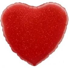Однотонный фольгированный воздушный шар Сердце красный голография (46 см)