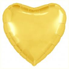 Однотонный фольгированный воздушный шар Сердце желтый (48 см)