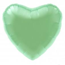 Однотонный фольгированный воздушный шар Сердце мятный сатин (48 см)