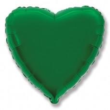 Однотонный фольгированный воздушный шар Сердце зеленый (46 см)