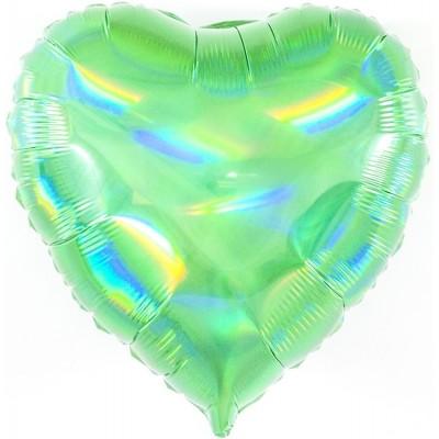 Однотонный фольгированный воздушный шар-сердце Перламутровый блеск зеленый голография (46 см)