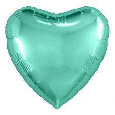 Однотонный фольгированный воздушный шар-сердце Бискайский зеленый (48 см)