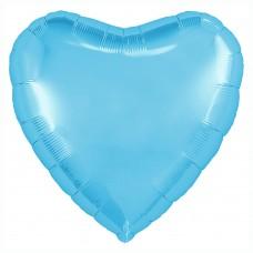 Однотонный фольгированный воздушный шар Сердце холодно-голубой (48 см)
