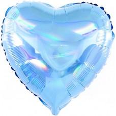 Однотонный фольгированный воздушный шар-сердце Перламутровый блеск голубой голография (46 см)