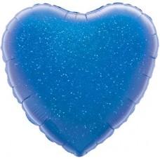 Однотонный фольгированный воздушный шар Сердце синий голография (46 см)