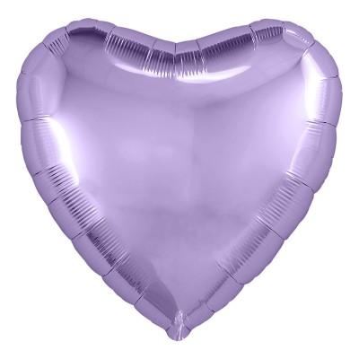 Однотонный фольгированный воздушный шар Сердце сиреневый (48 см)