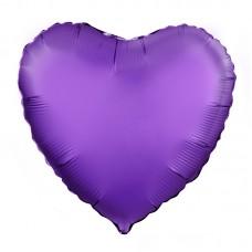 Однотонный фольгированный воздушный шар Сердце фиолетовый сатин (48 см)