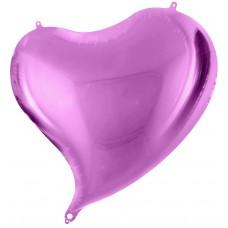 Однотонный фольгированный воздушный шар-сердце с изгибом фиолетовый (46 см)