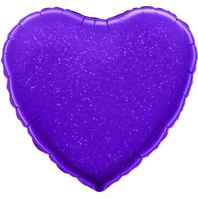 Однотонный фольгированный воздушный шар Сердце фиолетовый голография (46 см)