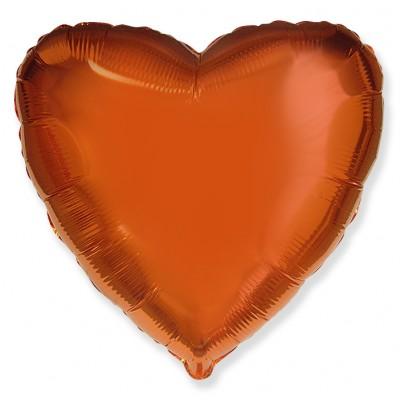 Однотонный фольгированный воздушный шар Сердце оранжевый (46 см)