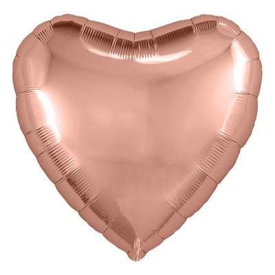 Однотонный фольгированный воздушный шар Сердце розовое золото (48 см)