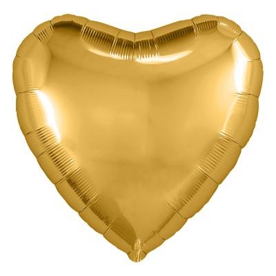 Однотонный фольгированный воздушный шар Сердце золото (48 см)
