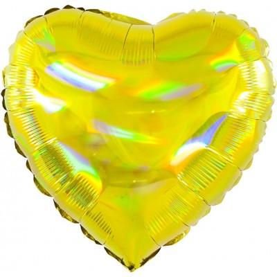 Однотонный фольгированный воздушный шар-сердце Перламутровый блеск золото голография (46 см)