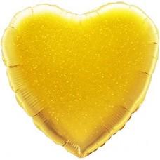 Однотонный фольгированный воздушный шар Сердце золотое голография (46 см)