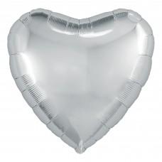 Однотонный фольгированный воздушный шар Сердце серебро (48 см)
