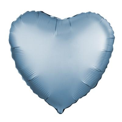 Однотонный фольгированный воздушный шар Сердце сталь сатин (48 см)