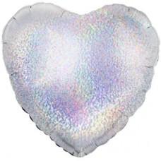 Однотонный фольгированный воздушный шар Сердце серебро голография (46 см)
