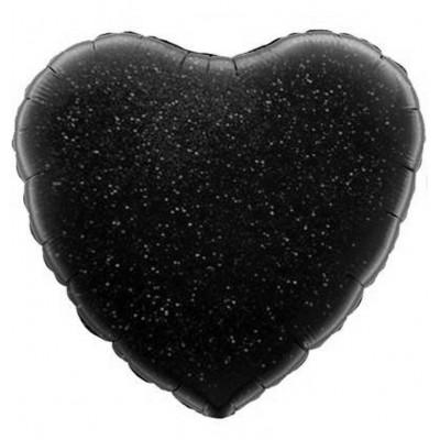 Однотонный фольгированный воздушный шар Сердце черный голография (46 см)