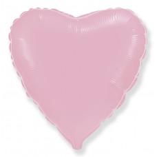 Однотонный фольгированный воздушный шар Сердце розовый (81 см)