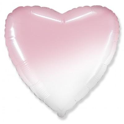 Однотонный фольгированный воздушный шар Сердце розовый градиент (81 см)