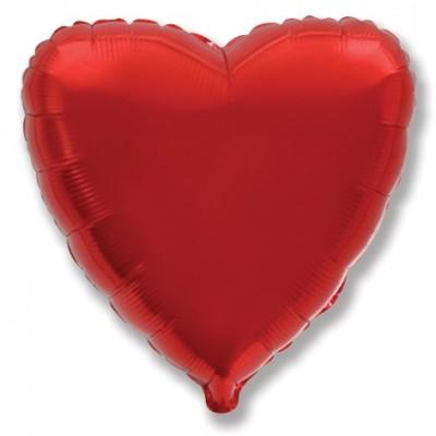 Однотонный фольгированный воздушный шар Сердце красный (81 см)