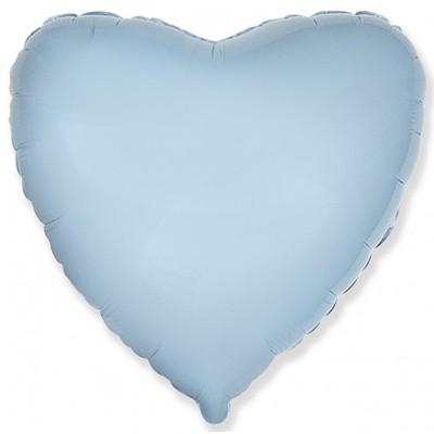 Однотонный фольгированный воздушный шар Сердце голубой (81 см)