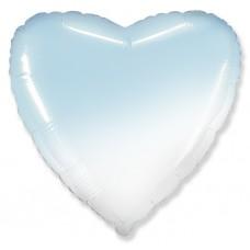 Однотонный фольгированный воздушный шар Сердце голубой градиент (81 см)
