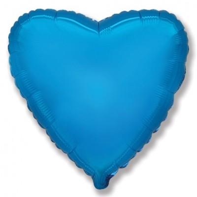 Однотонный фольгированный воздушный шар Сердце синий (81 см)