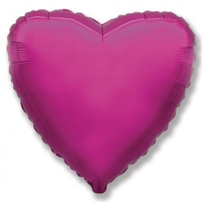 Однотонный фольгированный воздушный шар Сердце пурпурный (81 см)