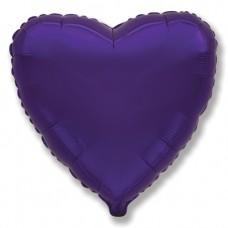 Однотонный фольгированный воздушный шар Сердце фиолетовый (81 см)